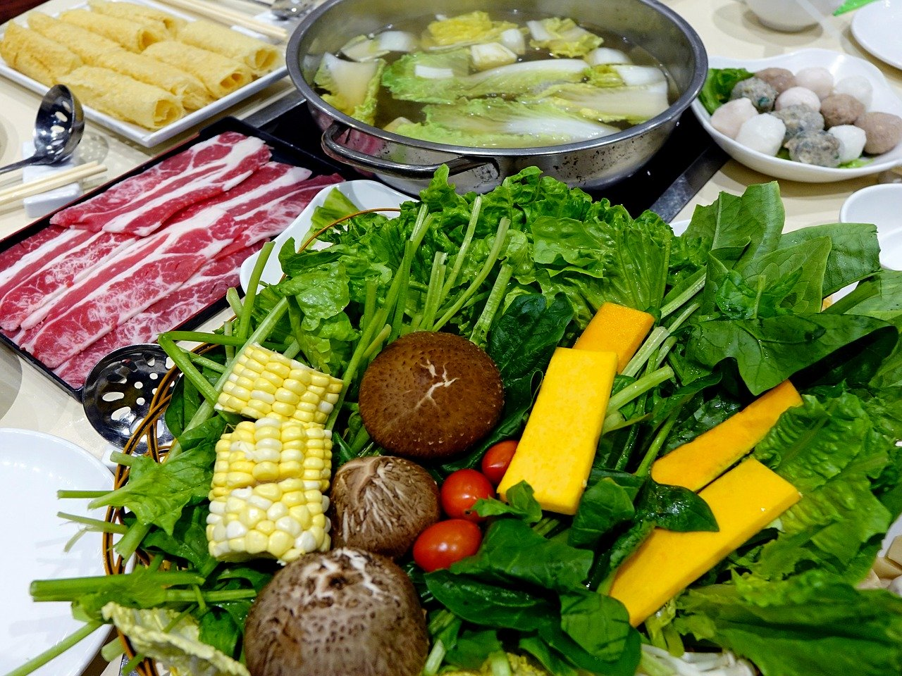 steamboat, vegetables, meat