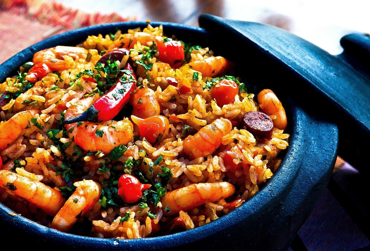 shrimp, rice, peppers